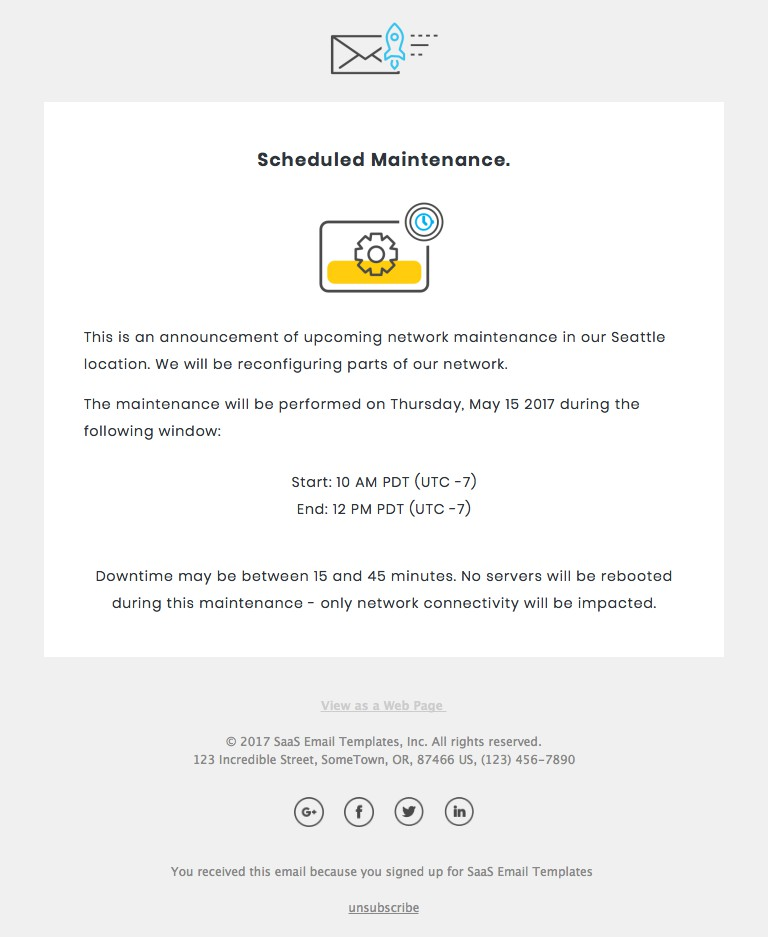 Maintenance Responsive Html Email Template